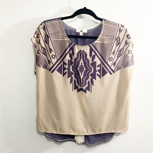 Ya Los Angeles Aztec Sheer blouse top Purple Cream